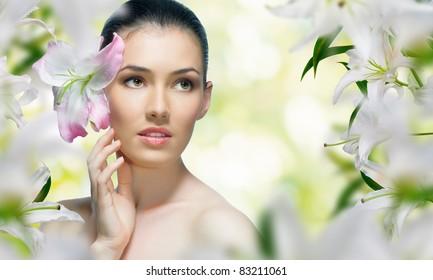 a beautiful girl in the flower garden