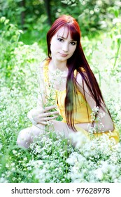the beautiful girl with flowers