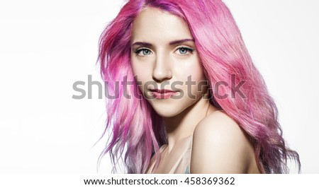 Beautiful Girl Fluttering Hair Color Pink Stock Photo Edit Now