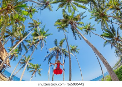 Beautiful girl fly high with fun in blue sky on rope swing among coconut palms on sea beach in tropical island. Healthy lifestyle, people activity and relaxation on summer family vacation with child.