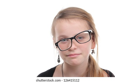 Beautiful girl with glasses on