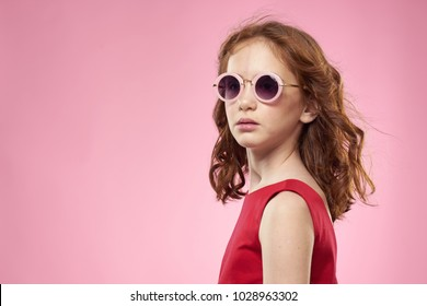 beautiful girl with glasses, red dress