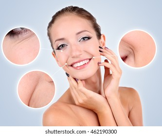 Beautiful girl with glowing skin close-up