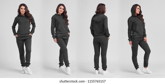 Beautiful girl in a grey sports suit with a hood. Front view, side view, rear view. Sweatshirt template