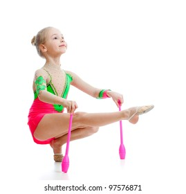 beautiful girl gymnast doing exercises over white