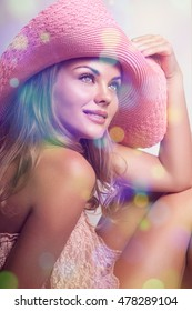 Beautiful girl. Beautiful girl, hat. Cute woman in a peach hat on her head, her face a gentle make-up. Portrait of a girl in the hat . Filter effect. girl's face close-up of three-quarters