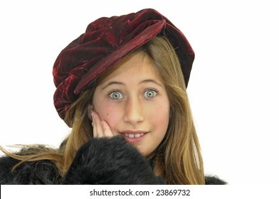 Beautiful girl with hat isolated in white background