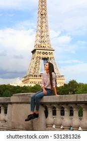 Beautiful girl have fun in the Paris.