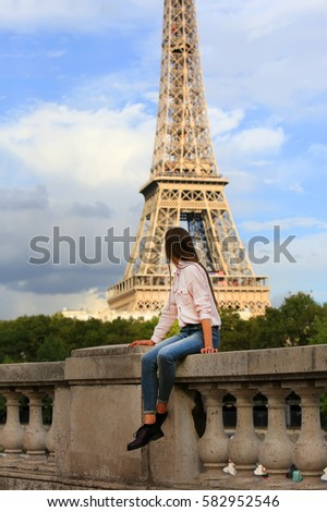 Beautiful girl have fun in the Paris
