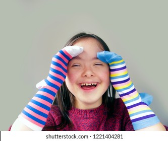 Beautiful girl have fun with socks