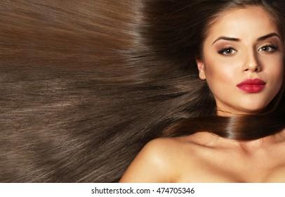 Beautiful girl with healthy hair, closeup