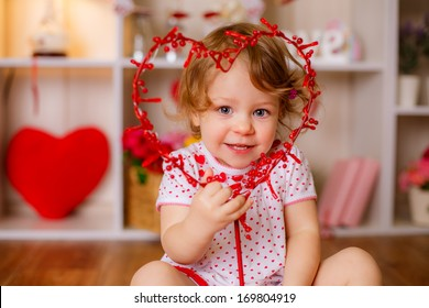 beautiful girl with heart. valentine's day concept