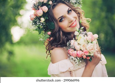 beautiful girl hen party with flowers