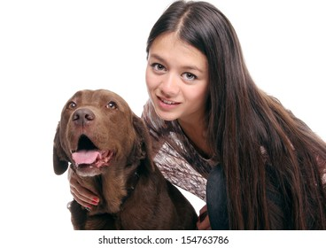 Beautiful girl with her dog