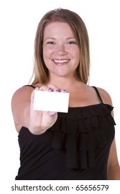 Beautiful Girl Holding a Blank Business card -  Isolated White Background