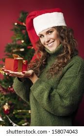 Beautiful girl holding a Christmas gift