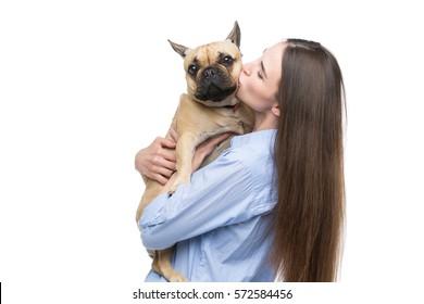 Beautiful girl holding french bulldog