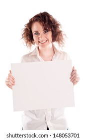 Beautiful girl holds a empty white sign for you to fill in your message
