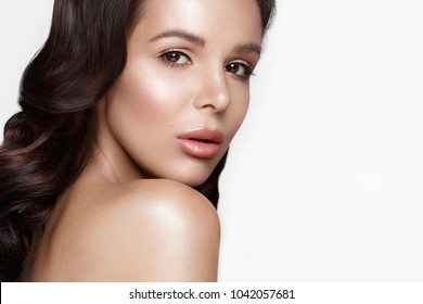 beautiful girl in Hollywood image with wave, classic makeup and full lips. Beauty face. Photo taken in the studio.