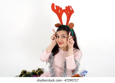 Beautiful girl with horns
