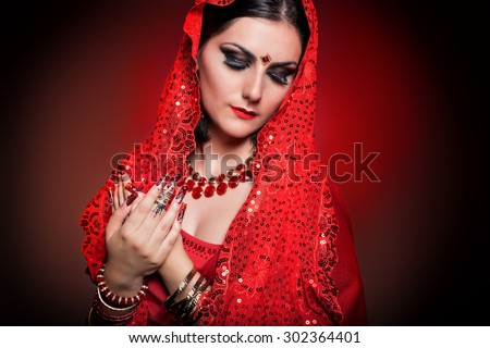 Beautiful Girl Image Indian Woman Red Stock Photo Edit Now