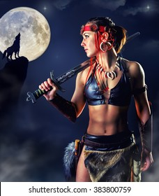 Beautiful girl in image of the Northern warrior in the mystic night. The picture is drawn with digital painting.