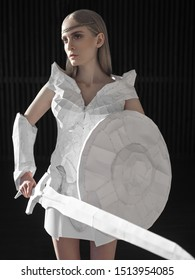 beautiful girl in the image of a white knight with a sword and shield. paper knight. creative shooting