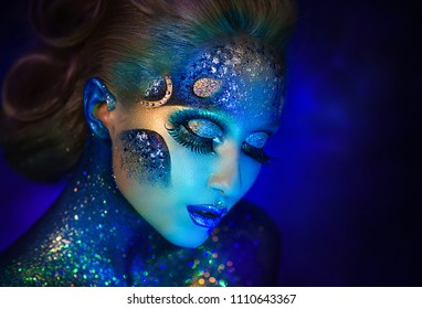 Beautiful girl in the image of the zodiac signs of fish