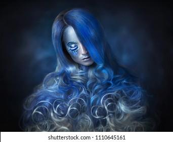 Beautiful girl in the image of zodiac signs Aquarius
