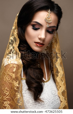 Beautiful Girl Indian Style Scarf On Stock Photo Edit Now