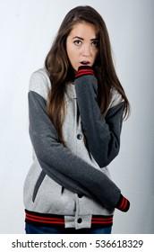beautiful girl in a jacket