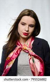 beautiful girl in jacket with handkerchief