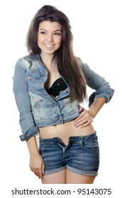 The beautiful girl in jeans Jacket isolated