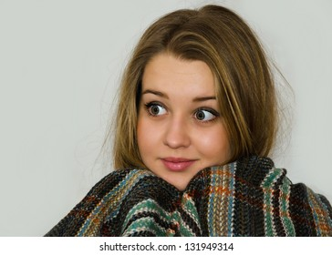 Beautiful girl with long auburn hair