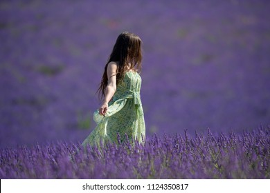 Beautiful girl with long dress in the fields of Lavender