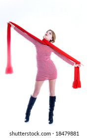 Beautiful girl with long red scarf, studio isolated