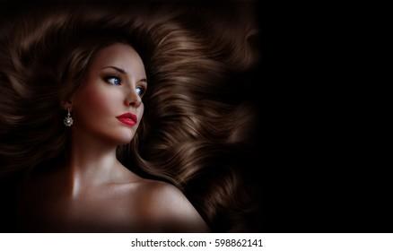 Beautiful girl with long shiny hair. Beauty saloon