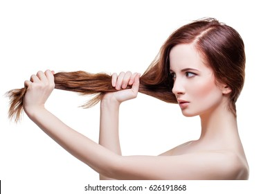 Beautiful girl with long strong hair