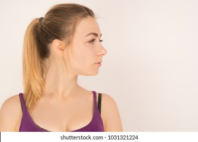 beautiful girl looking away, close-up, white background
