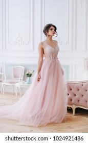 Beautiful girl in a luxurious long pink dress