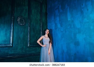 Beautiful girl in the luxury interior