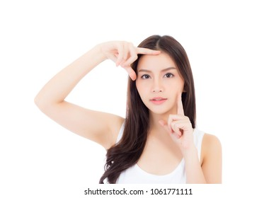 Beautiful girl with makeup, woman and skin care cosmetics concept / attractive beauty asian girl on face isolated on white background.