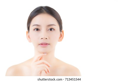 Beautiful girl with makeup, woman and skin care cosmetic concept / attractive asia girl smilling on face isolated on white background.
