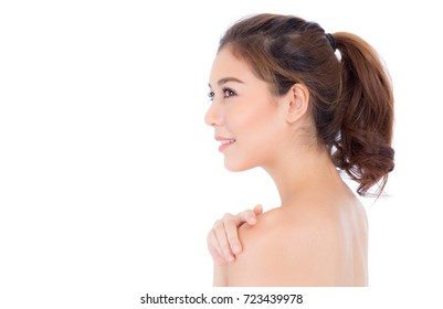 Beautiful girl with makeup, woman and skin care cosmetic concept / attractive beauty asian girl on face isolated on white background.