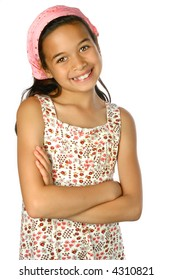 Beautiful girl of mix ethnicity in pink bandanna and flowery summer casual top, looking happy and confident, isolated on white.
