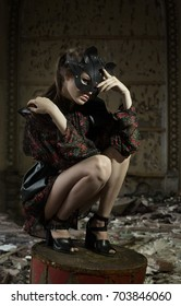 Beautiful girl, a model in a refined outfit in a creative location. Fashion, style, beauty, portrait.