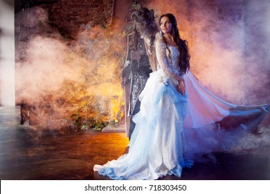 Beautiful girl and a monster, fairy tale, concept