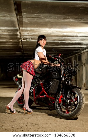 Beautiful girl motorcycle garage stock photo edit now 134866598