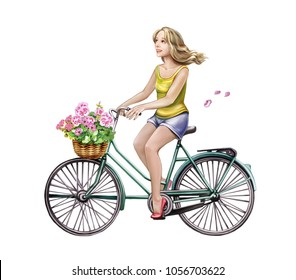 beautiful girl on a bicycle, a woman carries flowers in a basket, the wind waves her hair, a Frenchwoman rides down the street, an isolated character on a white background