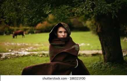 """beautiful girl on the field with cows and oak tree  (art photo project """"Joan of Arc"""")"""
